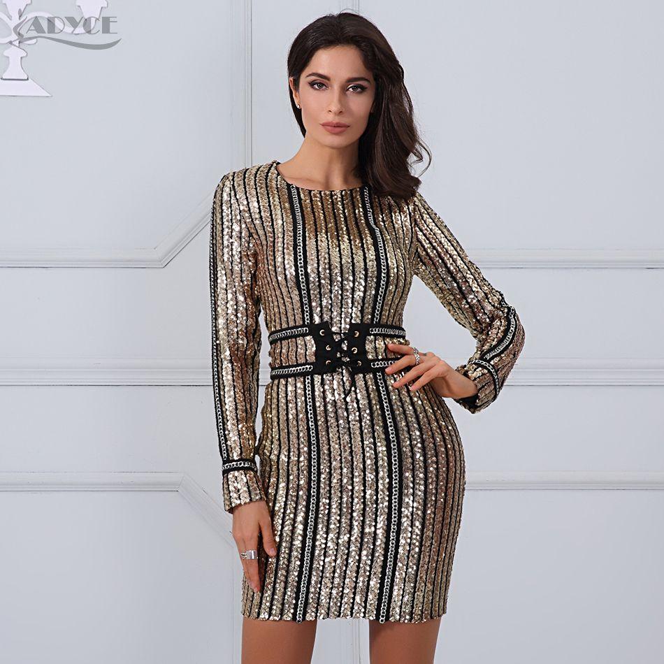 a70eab7fd Summer dress luxury Celebrity Runway Dress black O-Neck long sleeve Sequins  striped mesh Women Bodycon Dress Clubwear