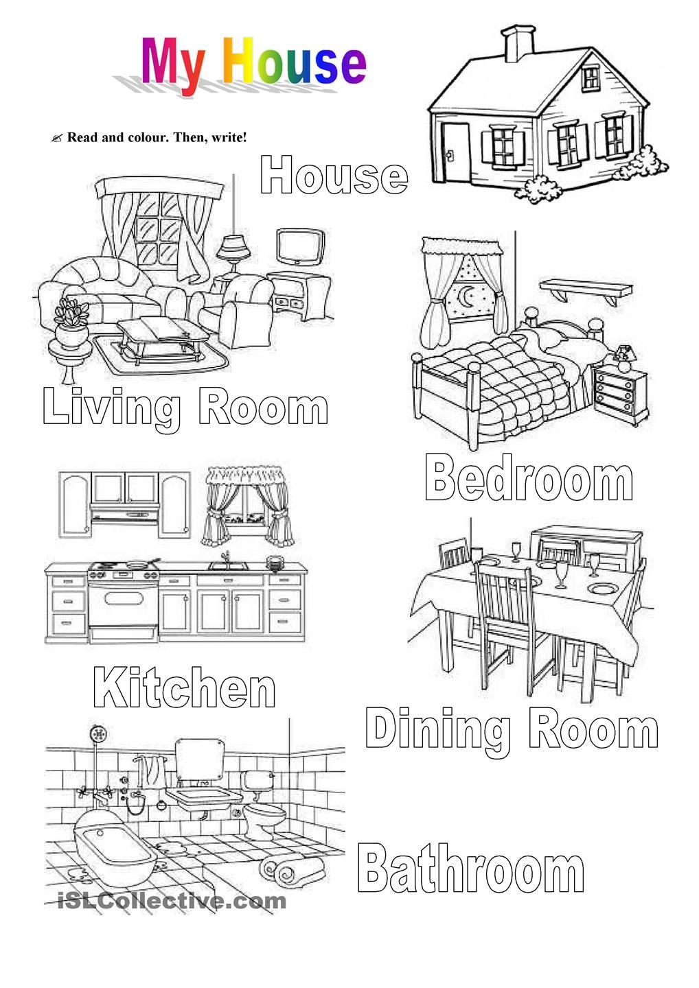 Printable Worksheets Home : My house teaching pinterest english and