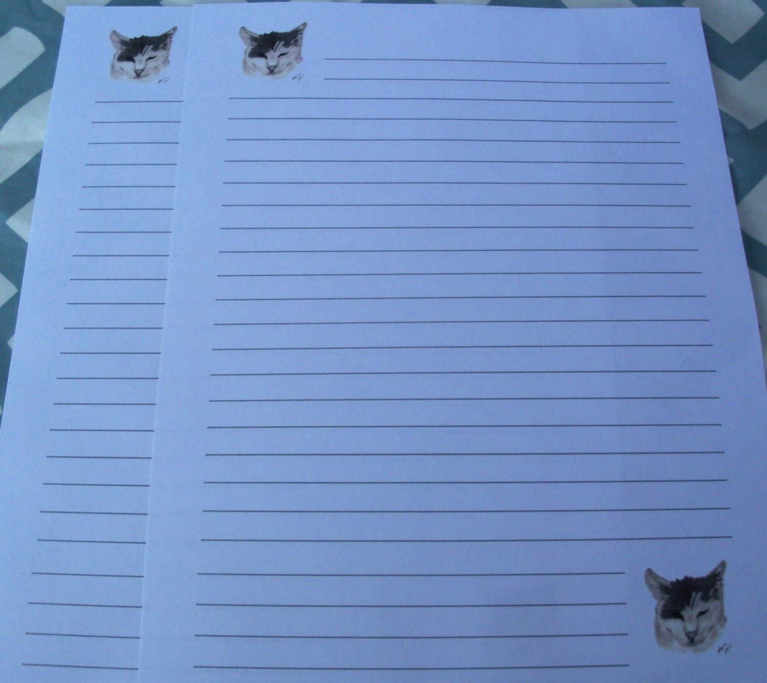 Paper Lined Stationery Letter Sheets 20 Piece  Cat Stationery Sheets Lined .