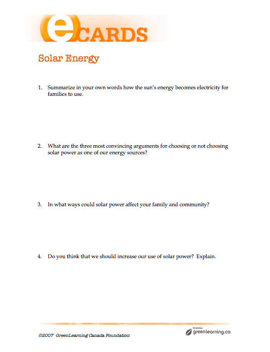 Solar Energy - Printable lesson plan  Meets Canadian curriculum