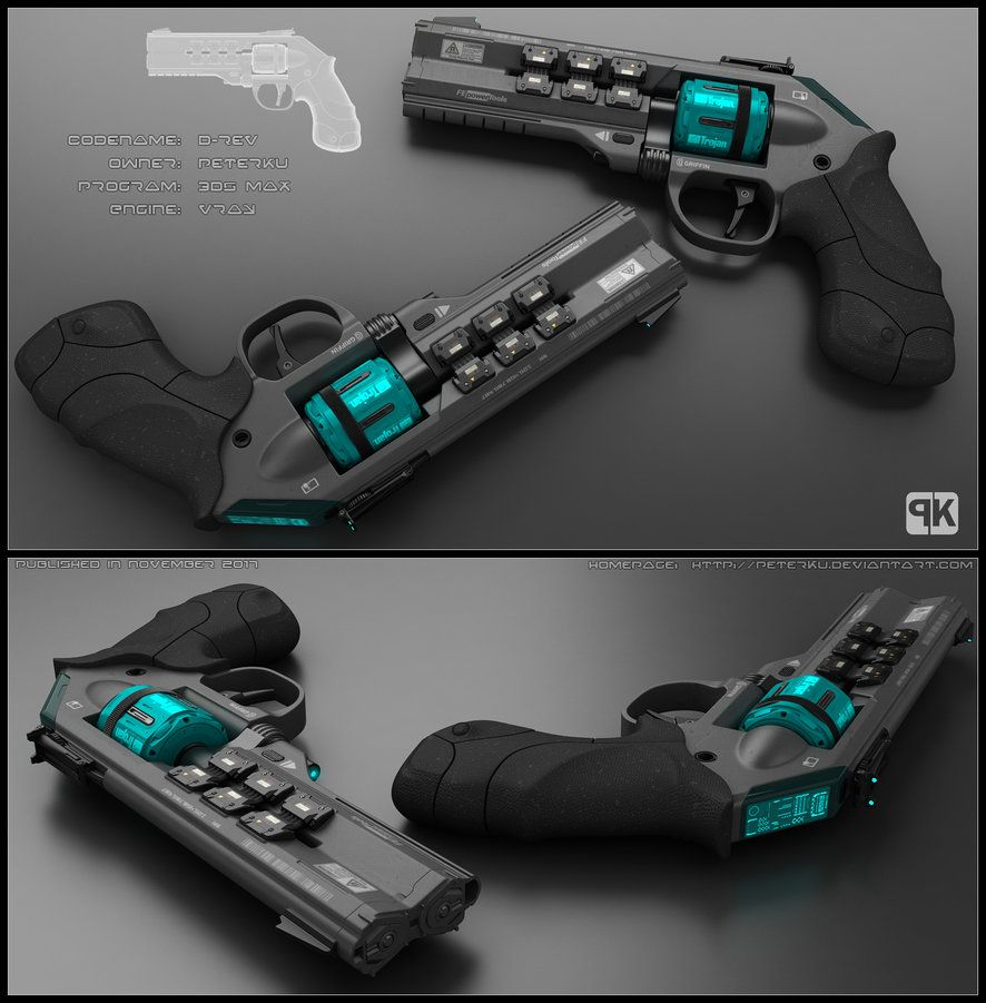 Concept of futuristic revolver. Design is based on usual ...