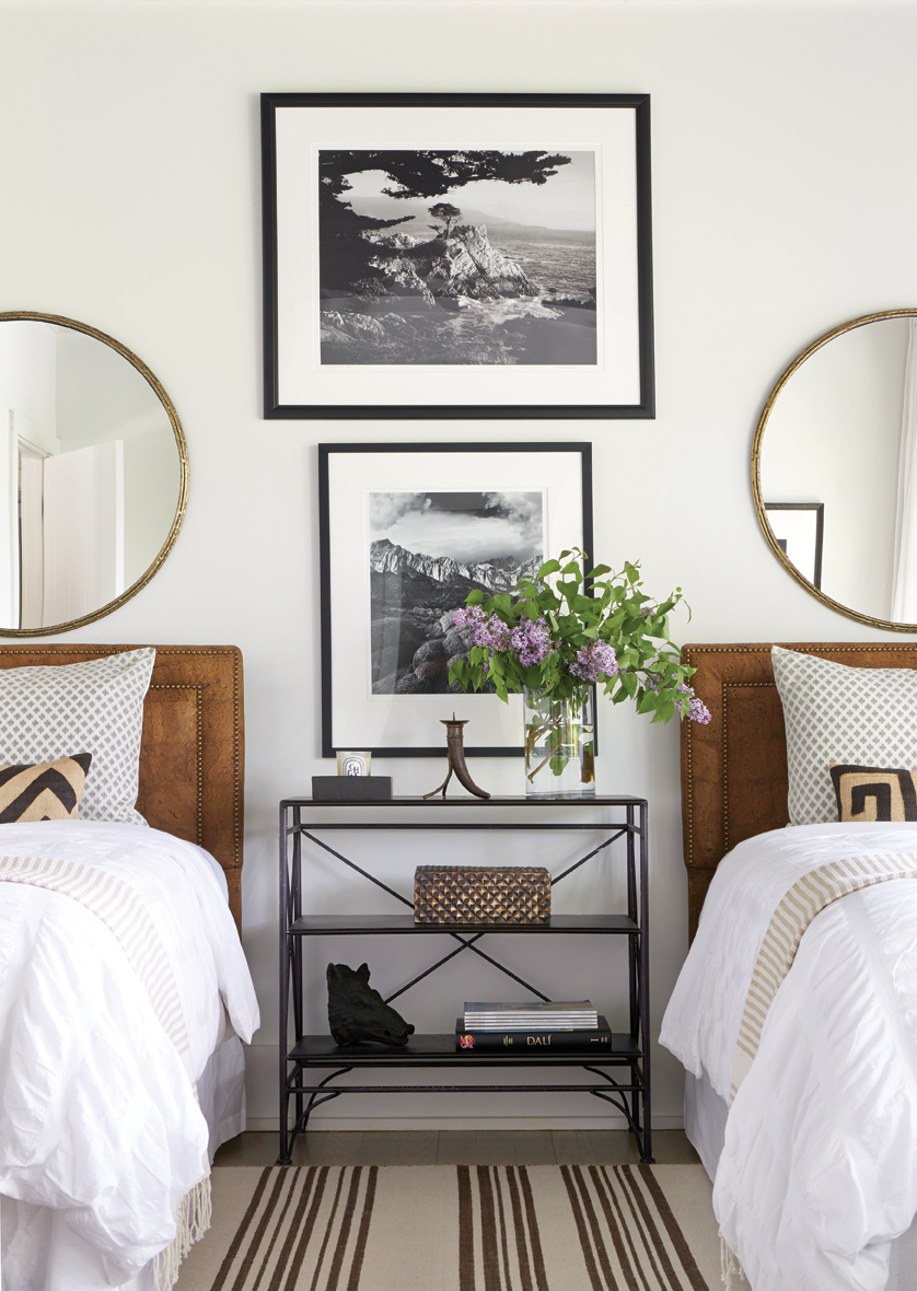 Bedroom With Twin Beds Black And White Photography Matching Mirrors