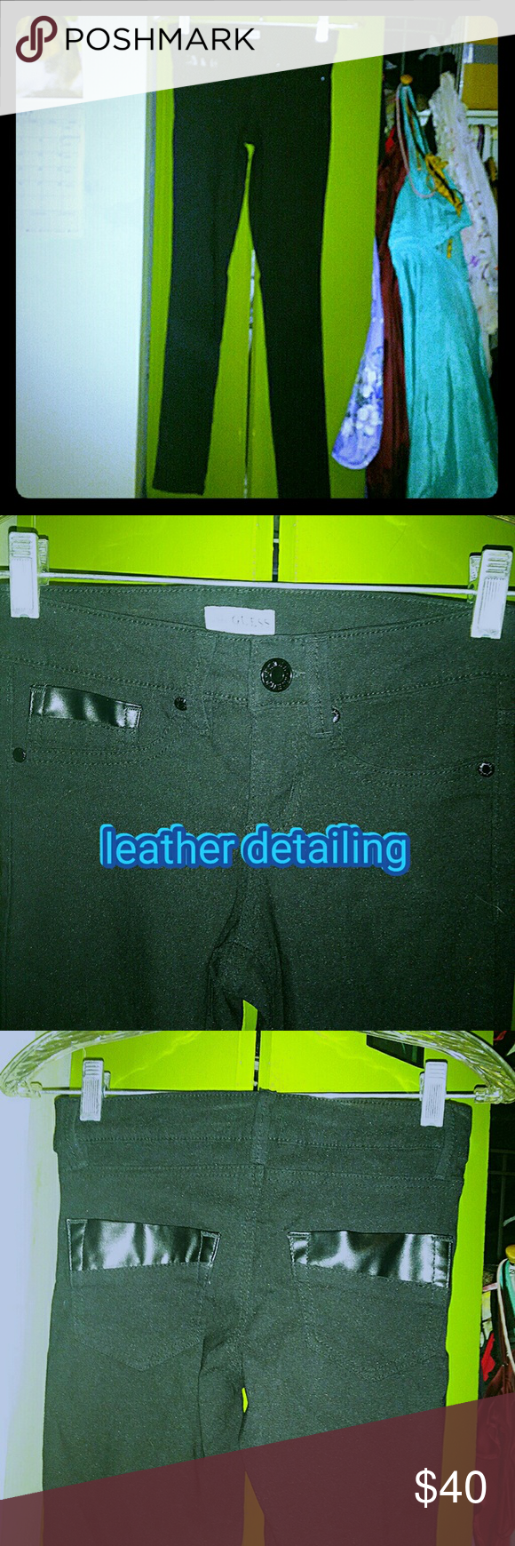 Black skinny pants with leather detail. Guess. Xs Excellent used condition. Black semi stretch skinny fit pants with leather detail on the pockets, front and back. Size xs. Guess Pants Skinny