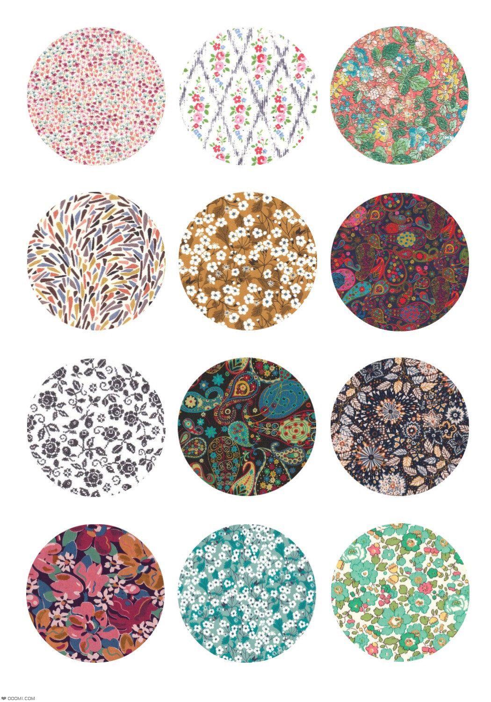 Motifs fleurs sur tissu vintage 12 images dessins digitales collage sheet pour circle - Imprimer photo sur tissu ...