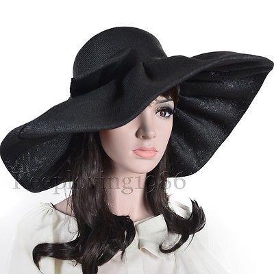 cd7daea025ec4 Women Linen Kentucky Derby Hat Wide Brim Hat Foldable Bow Outdoor Hat