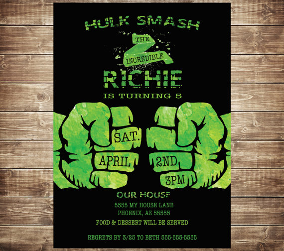 Incredible Hulk Birthday Invitation Boys by PaperPrinceParties – Hulk Birthday Invitations
