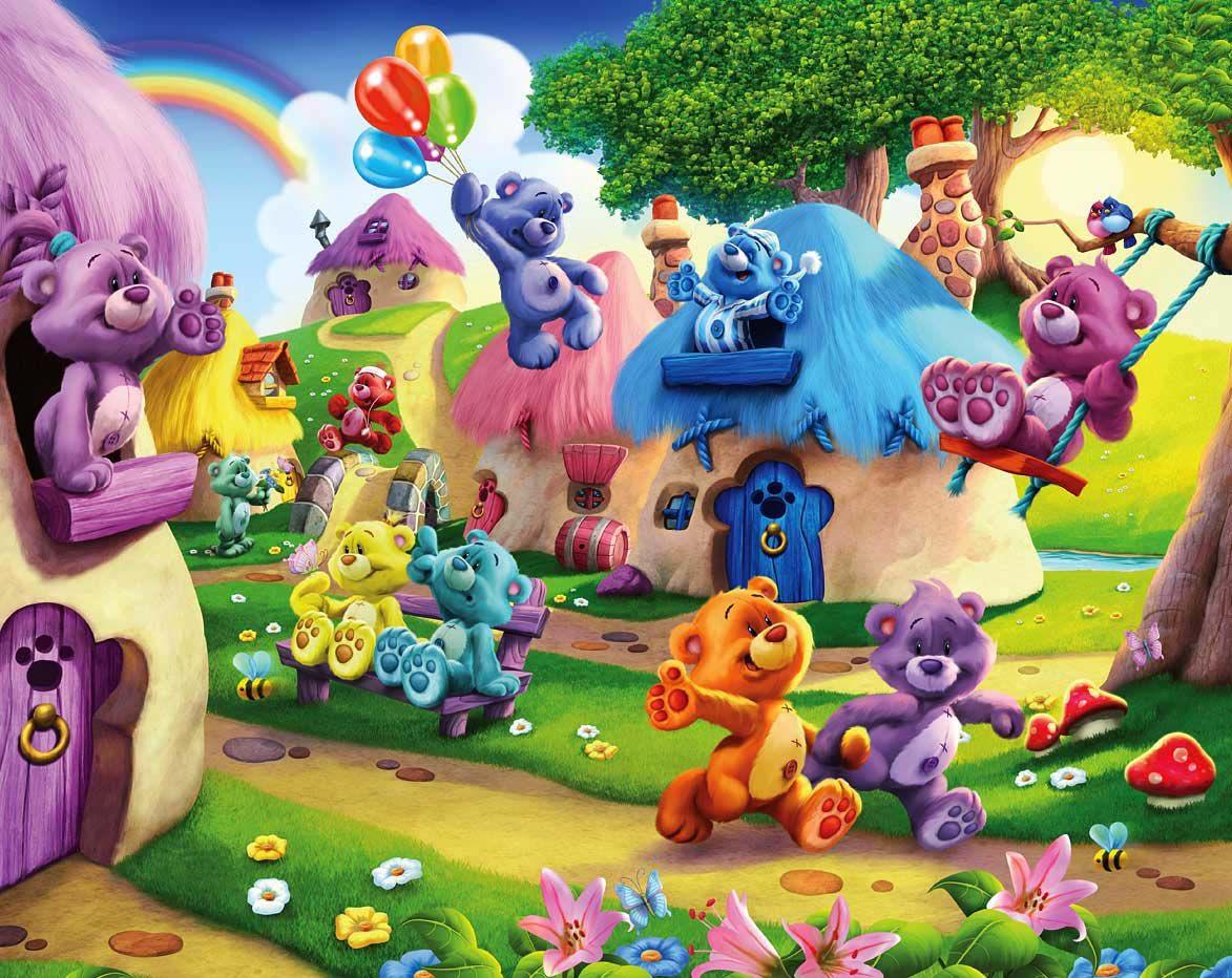 Fototapete Kinderzimmer Bärchen Teddybären Land