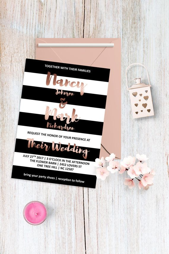 Rose Gold Wedding Invitation Modern Wedding Invitation Elegant Wedding  Invitation Minimalist Wedding Invitation Striped Invitation Printable