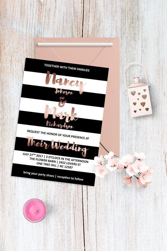 Rose Gold Hochzeit Einladung Moderne Hochzeit Von BohemePrints