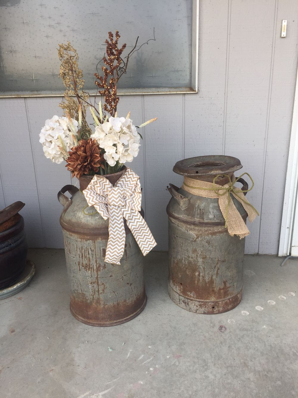 Old Milk can Yakima dairy rustic chic Old milk cans