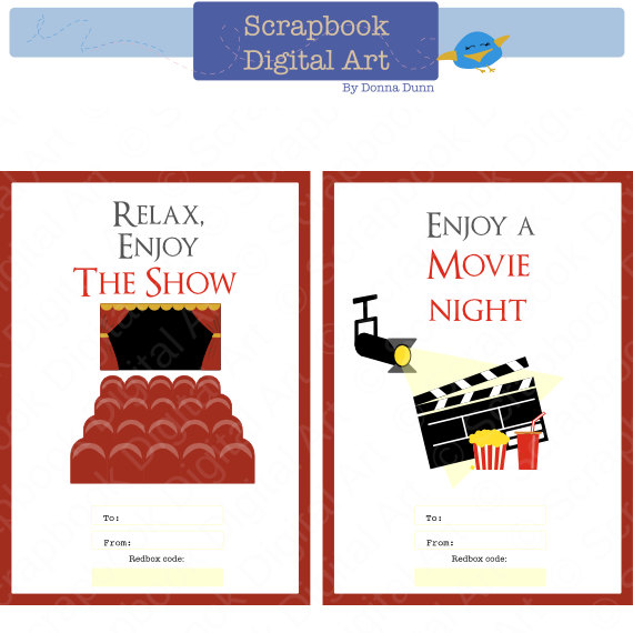 Printable Redbox Gift Card Tag Relax Enjoy The Show Movie Night