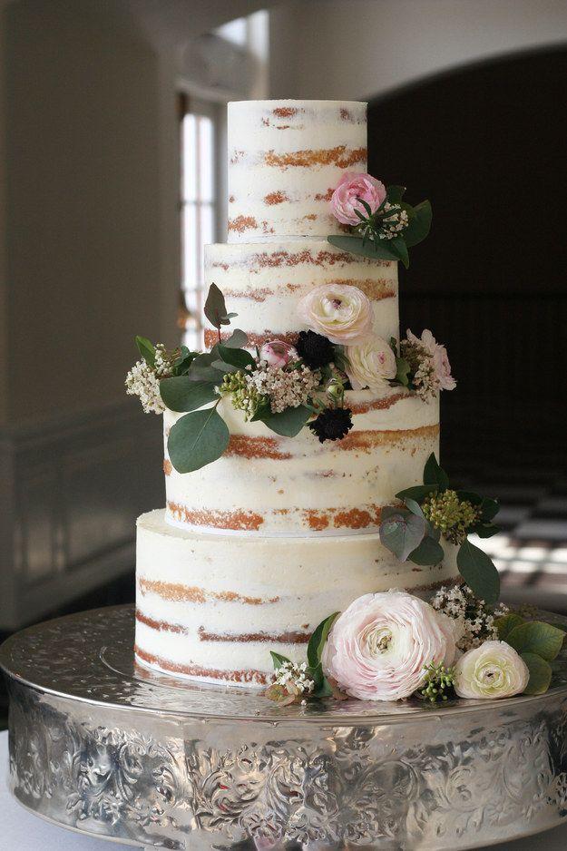 This tastefully naked cake.   25 Incredibly Beautiful Wedding Cakes That Won 2015