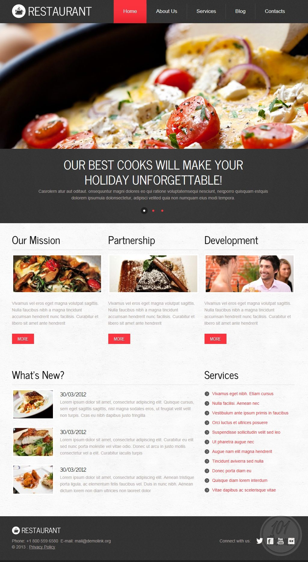 Restaurant, a Drupal restaurant theme by Template Monster ...