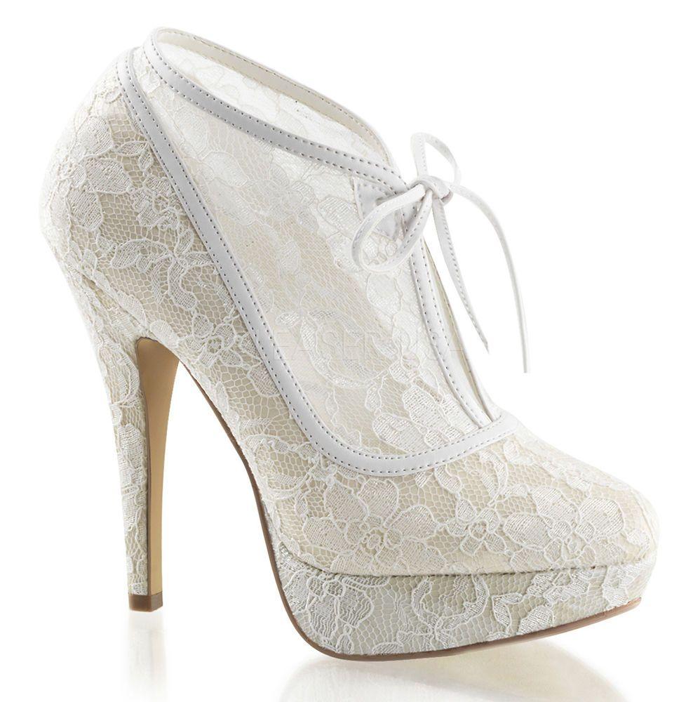 Ivory White Lace Bridal Vintage Wedding Shoes Platform
