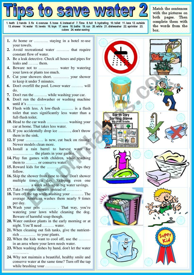 Tips To Save Water 2 Pictionary Exercises Key Save Water