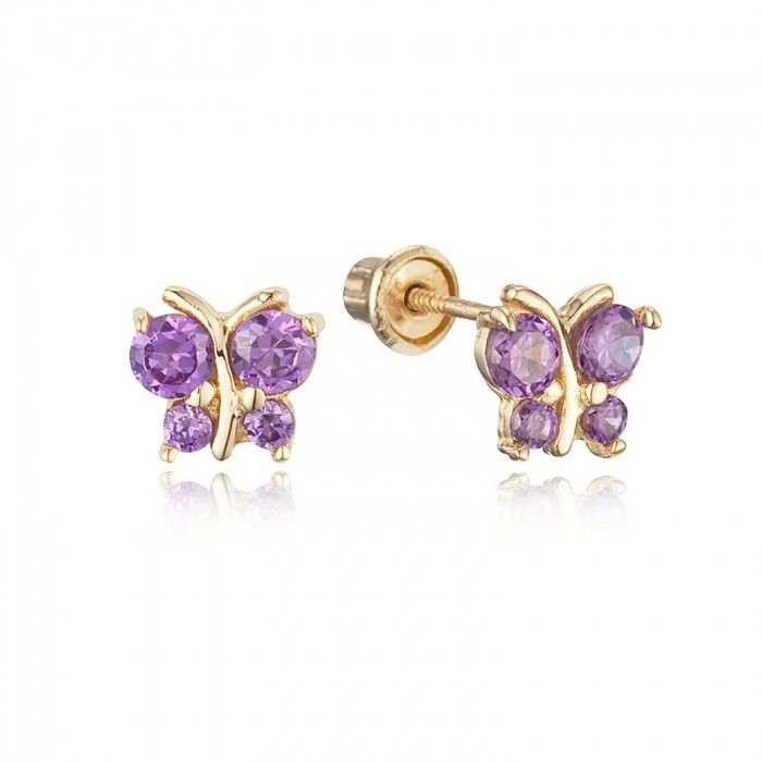 Baby And Children S Earrings 14k Gold Amethyst Cz Erflies With Backs From A Wide Range Of For Babies At