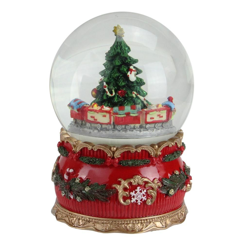 Northlight 6 In Christmas Musical Tree And Train Animated Water Globe Table Top Decoration 32260652 Globe Ornament Christmas Deer Decorations Spinning Christmas Tree