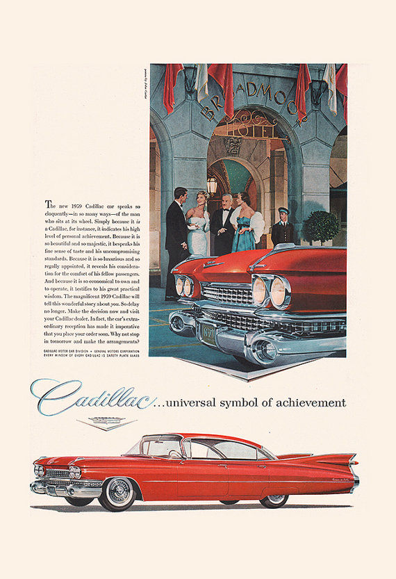 VINTAGE CADILLAC AD – Classic Car Ad, Retro Car Poster, Old Car Ad, 50's Retro Wall Art, Car Collector Gift, Car Collector, Garage Shop