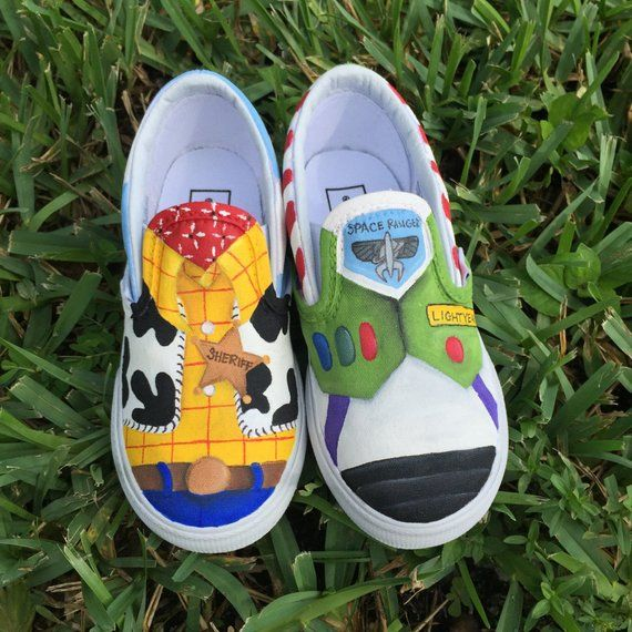Kids Hand Painted Toy Story Inspired Canvas Shoes Made To Order