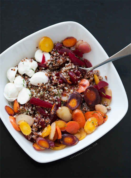 Honey-Roasted Carrots and Pickled Beets with Quinoa