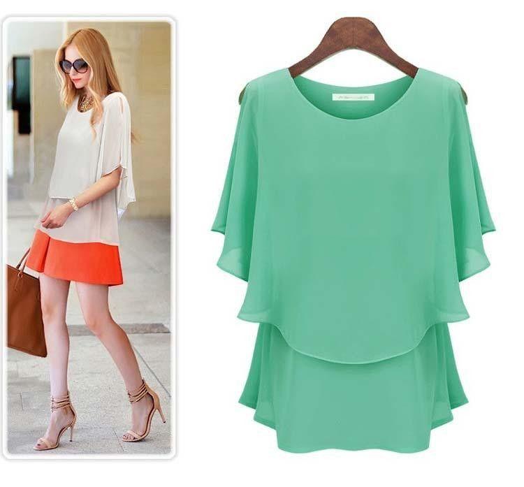 new summer split sleeve European pop false two short sleeved chiffon shirt sleeve chiffon blouse Feifei