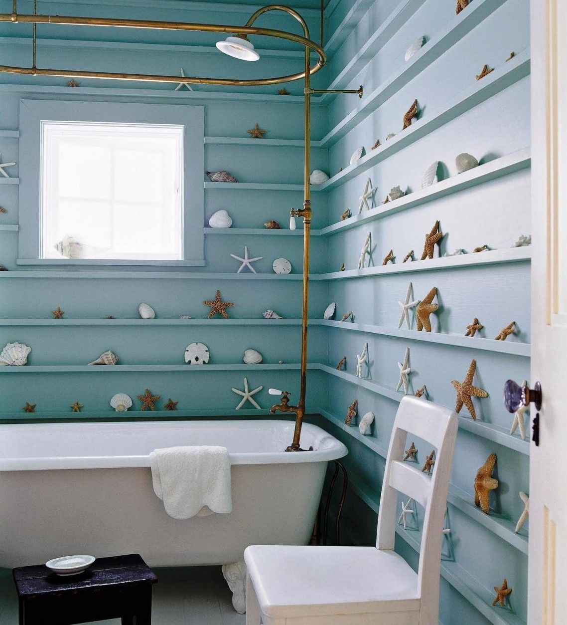 Blue Wooden Shelves On The Blue Wall Full Of Star Fish Ornaments ...