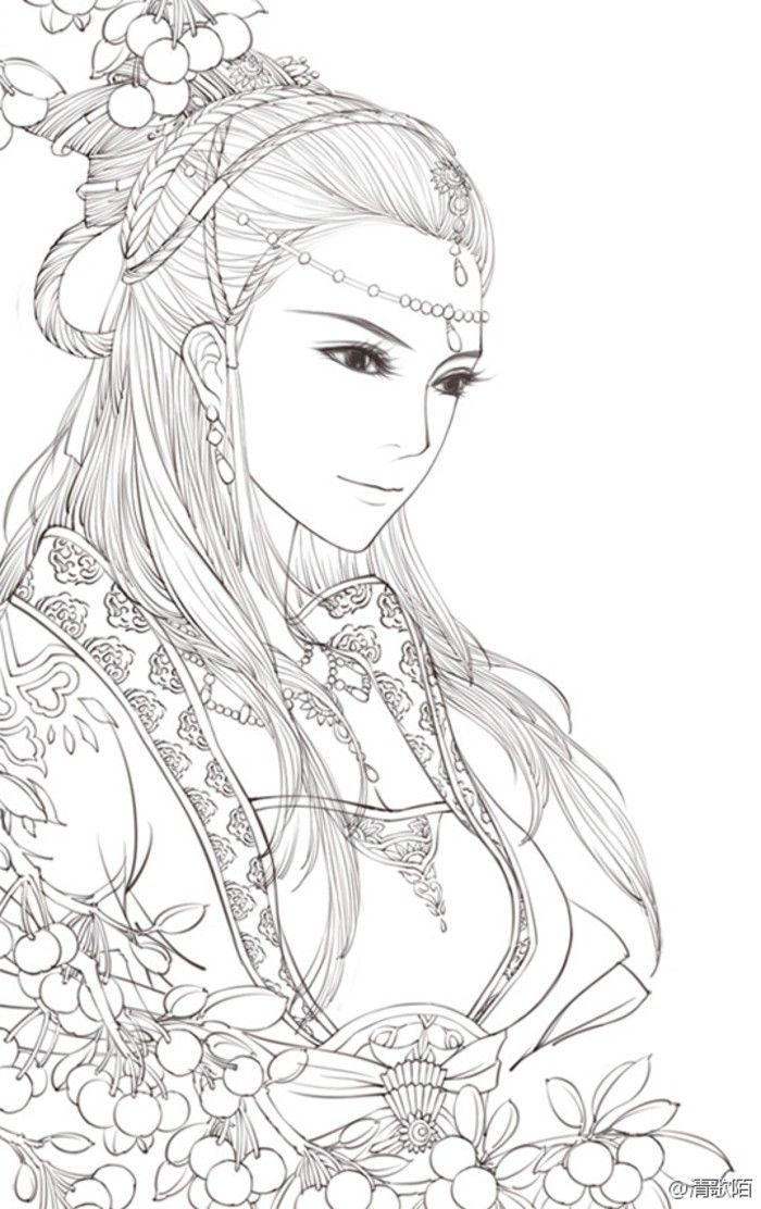 beautiful asian style coloring page - Coloring Page Person