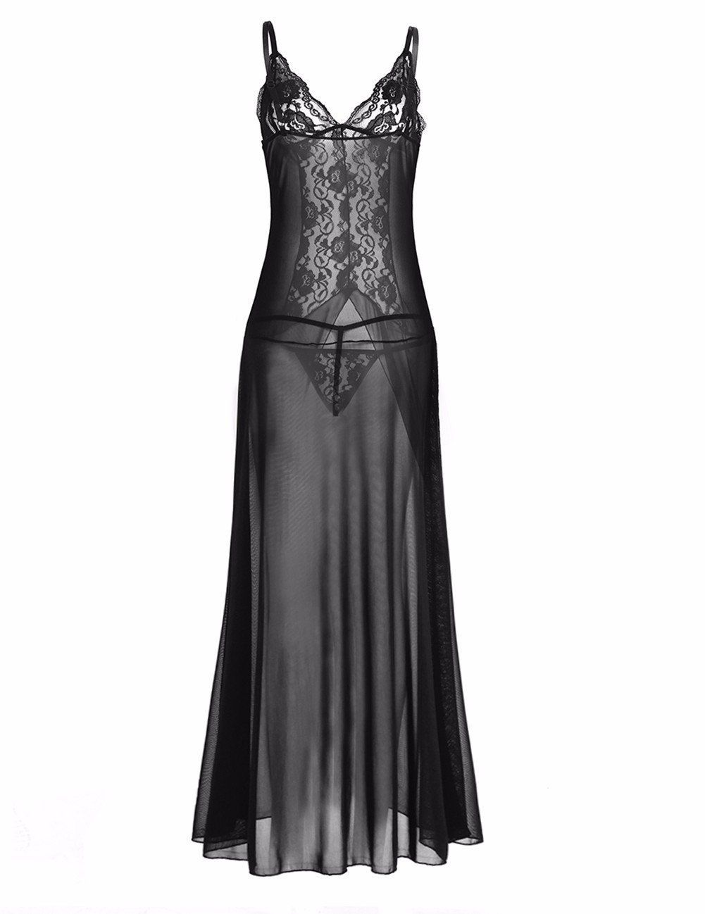 Feeshow womens sheer lace lingerie deep v neck long gowns dress with