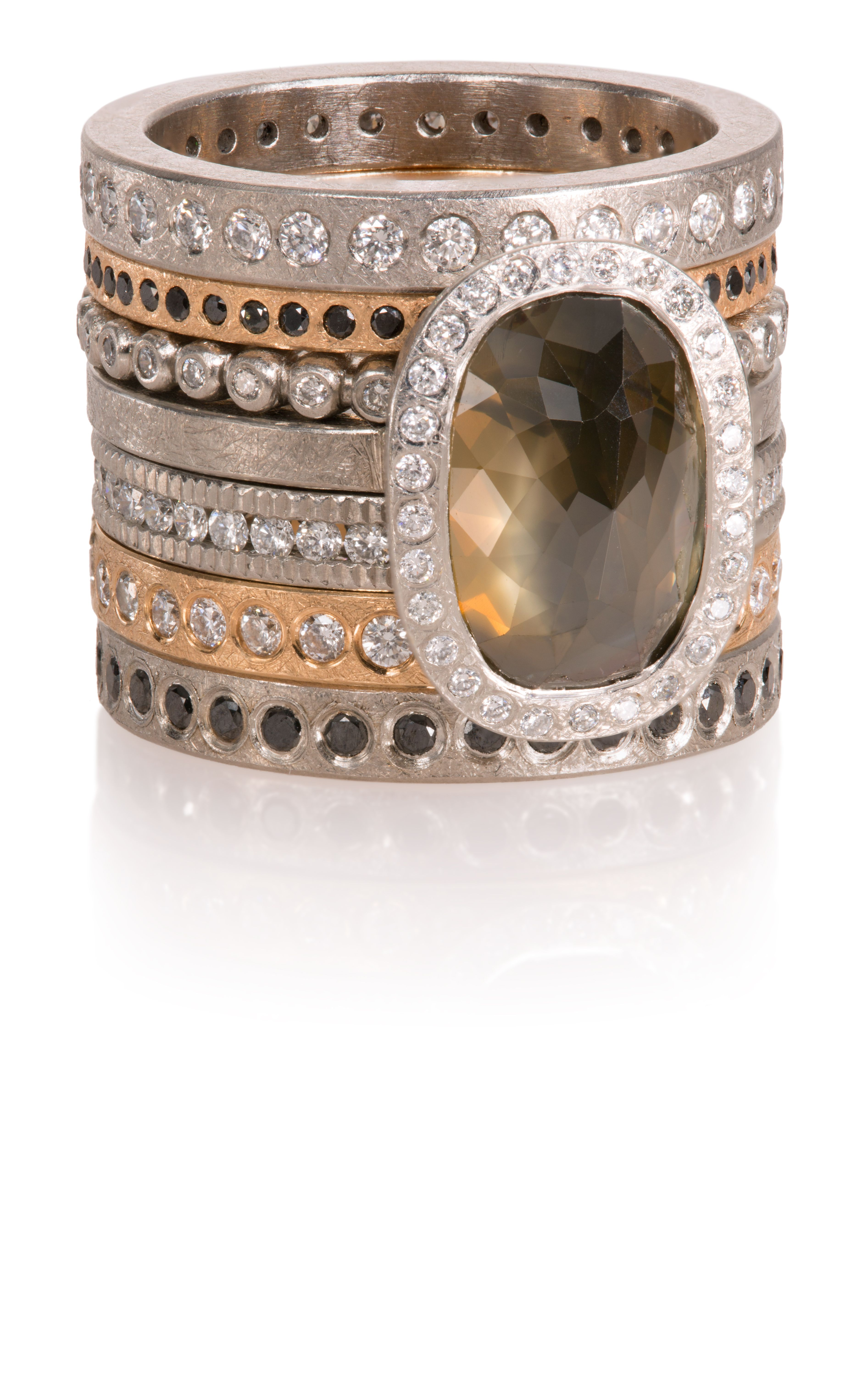 e5c6c04871ea62 Todd Reed Jewelry, Alternative Bridal, Bridal Stack, Wedding Ring Stacks,  Colored Diamonds