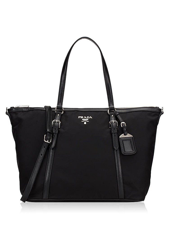 Prada Tessuto Saffian Black Shopping Tote Bag