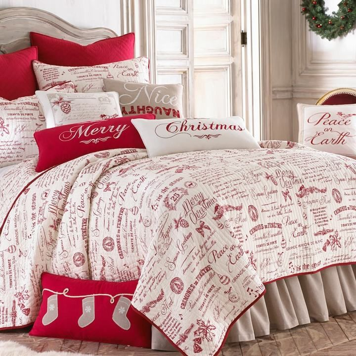 Give Your Bedroom A Holiday Makeover With The Seasonal Charm Of This Christmas Script Quilt Set