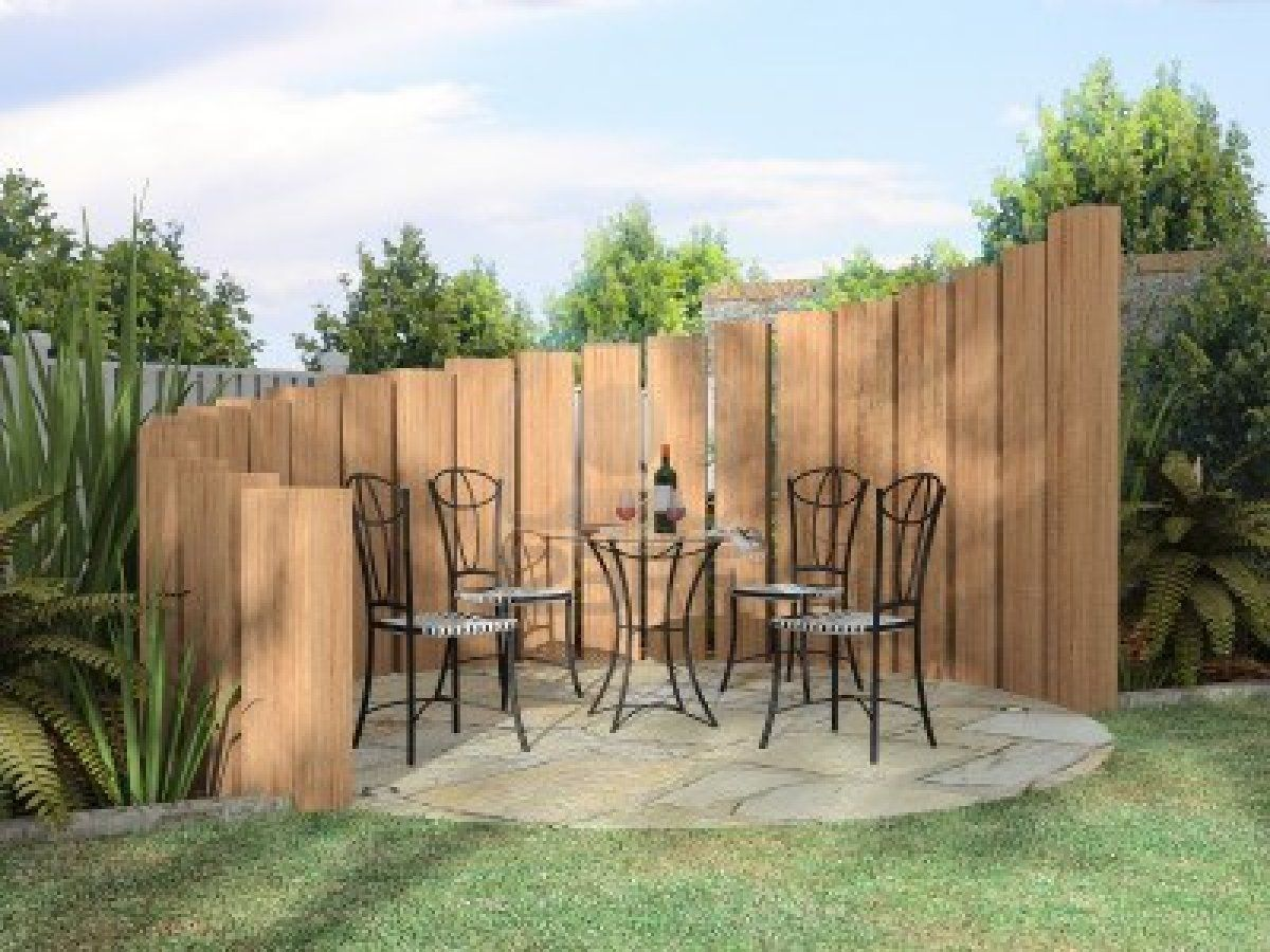Arbor with furnitures in sunny day soundproof the uprights and