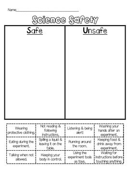 This Science Sort Is Designed To Assess If Your Students Understand What Is Safe And Unsafe When Co Science Safety Science Lab Safety Science Safety Activities