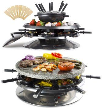 Raclette Fondue Set andrew luxury 2 in 1 raclette grill fondue set with
