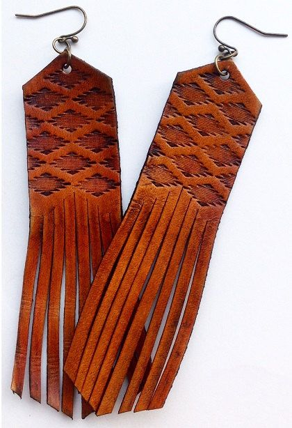 Handcrafted Aztec Tooled Leather Fringe Earrings