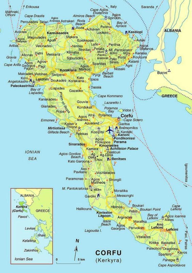 Andalusian Auringossa Matka Viini Ja Ruokablogi Akkilahto Kreikkaan Agios Stefanos Corfu Map Greek Isles Cruise Corfu Island