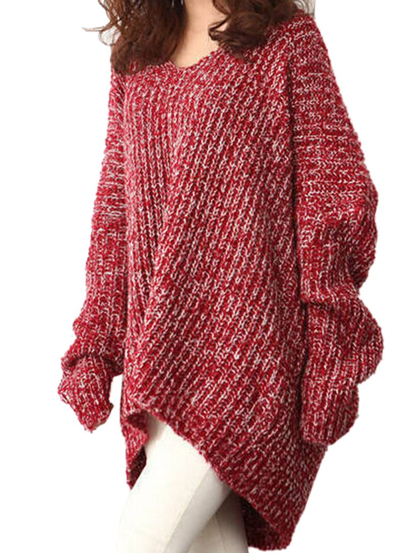 Love Love LOVE Oversized Sweaters! Oversized Red V Neck Marled ...