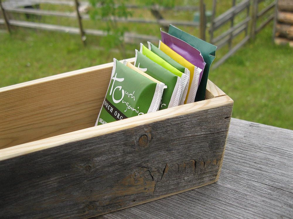 Barnwood TEA BOX handmade from reclaimed weathered wood - rustic refined