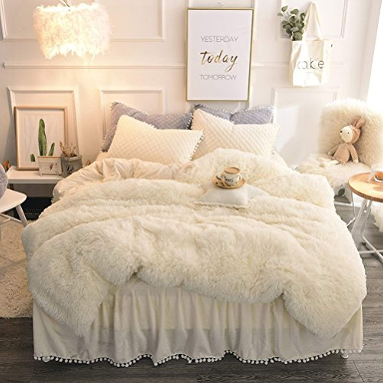 Liferevo Luxury Plush Shaggy Duvet Cover Set 1 Faux Fur Duvet Cover 2 Pompoms Fringe Pillow Shams Solid Zippe With Images Fluffy Bedding Bedding Sets Duvet Cover Sets