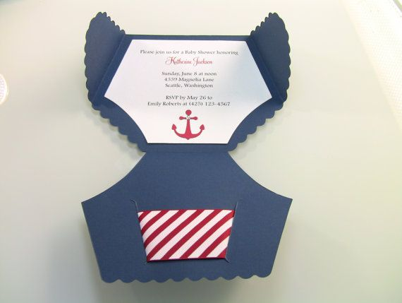 10 Nautical Shower Invitation Cards, Diaper Invitation Cards, New