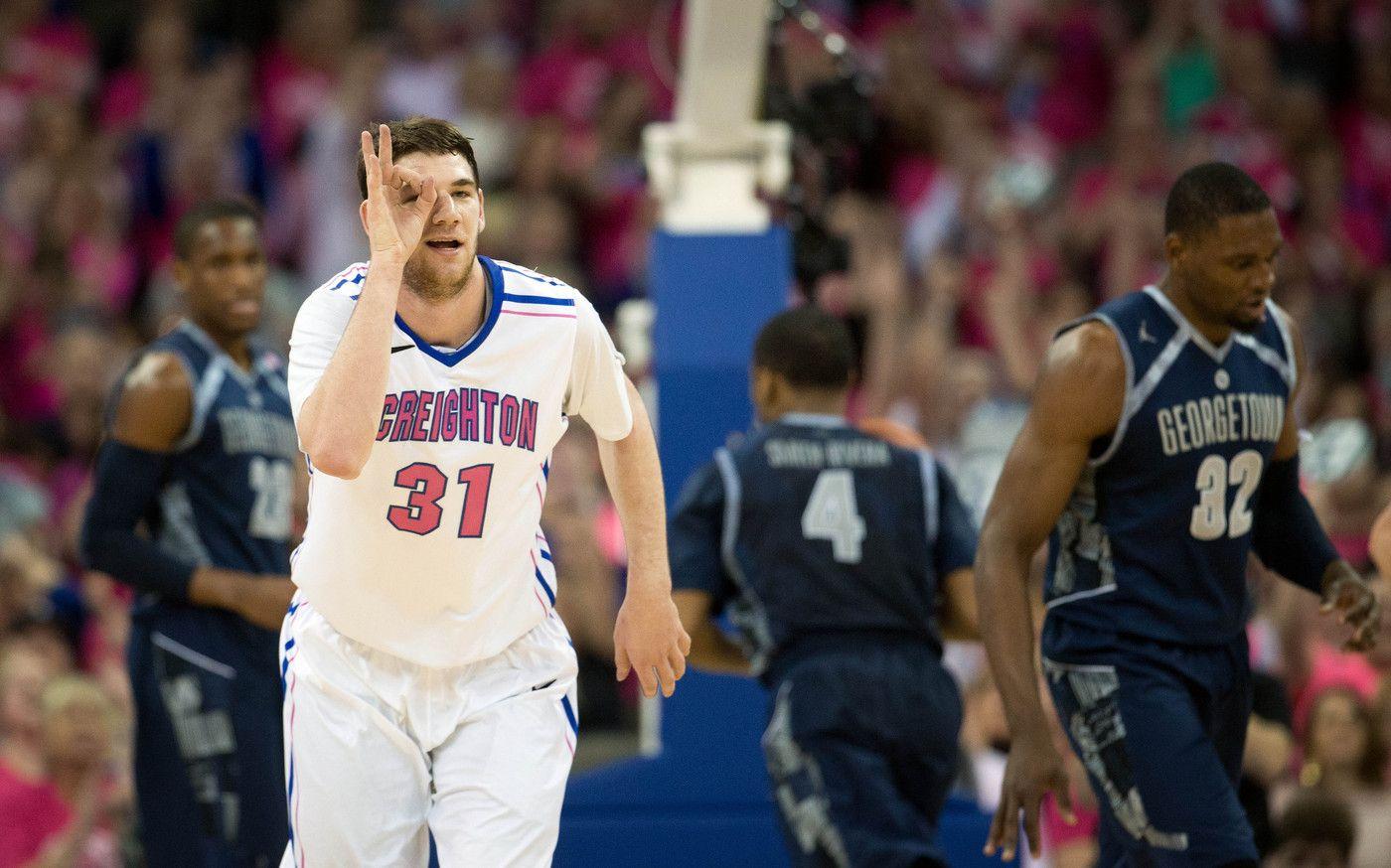 Creighton's Will Artino signals to teammate Jahenns