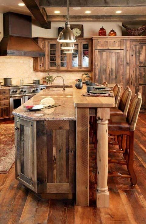 Rustic Brown Barnwood Kitchen Cabinet Brown Board Rustic Kitchen