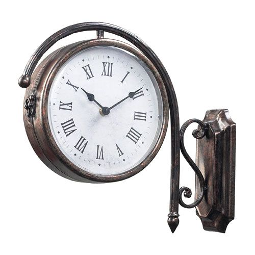 antique bronze double sided wall clock sterling industries wall mounted clock clocks home