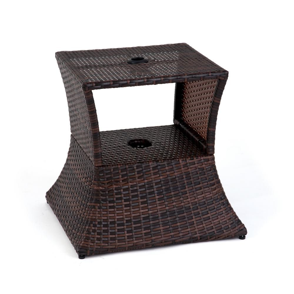 Trademark Innovations 17 in. Square PE Rattan Patio Umbrella Stand & Side Table in Brown TBLEUMB-RAT-BR - The Home Depot