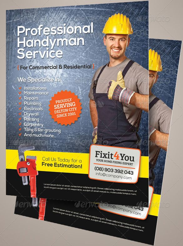 Best Handyman Flyer Templates  Designs  Free  Premium