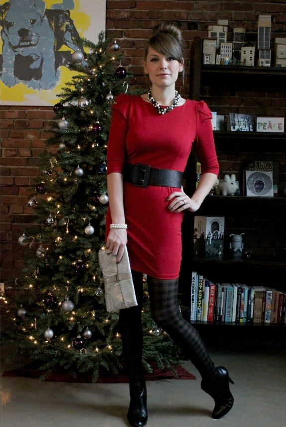 Cute Holiday Outfit Red Sweater Dress Patterned Tights