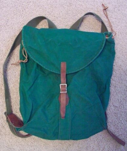 Vintage Ll Bean Green Canvas Camping Hiking Rucksack Pack