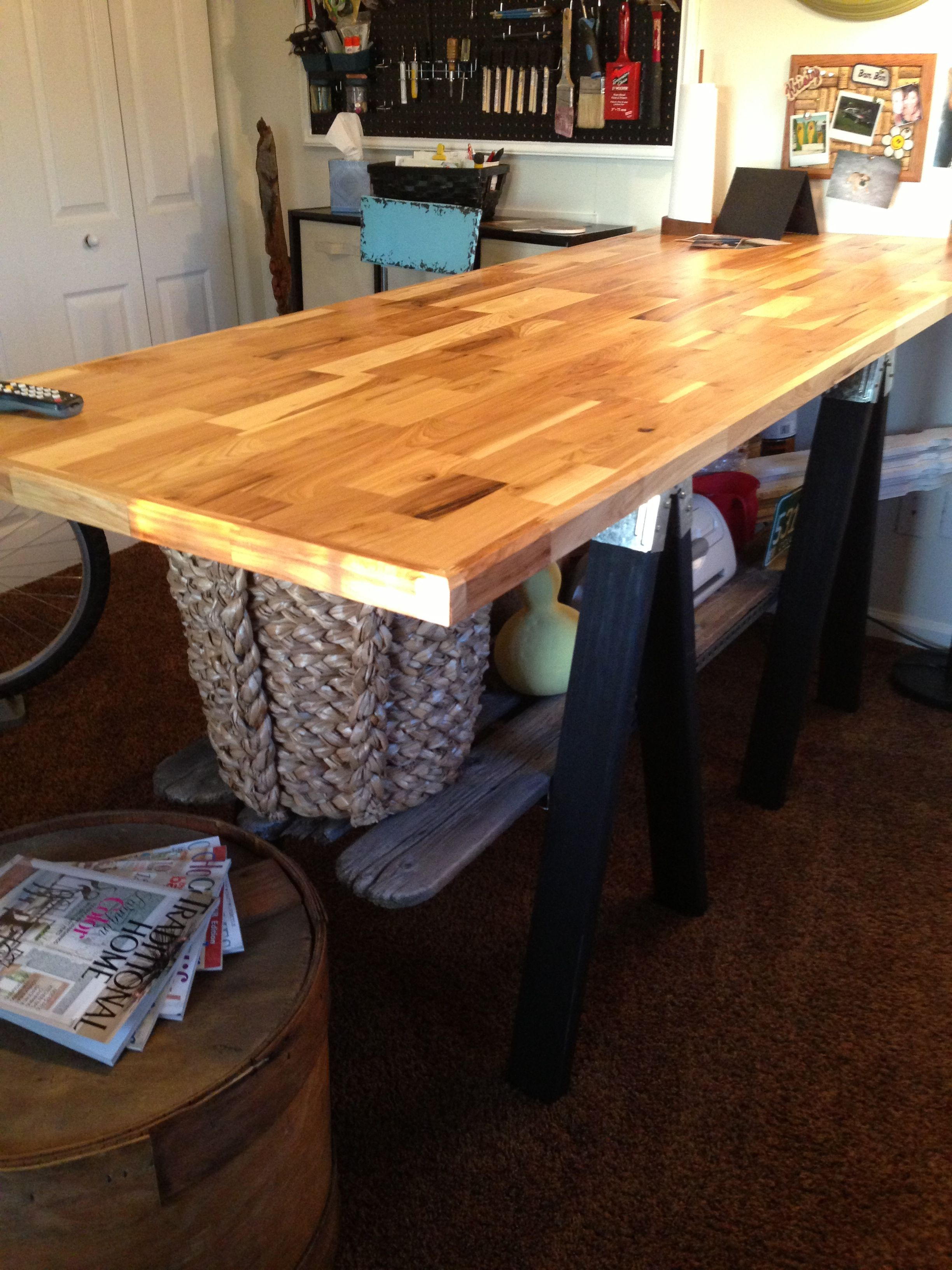 DIY Craft Table (love it ) !! 7 x 3 butcher block top with saw horse legs & rustic shelf ...