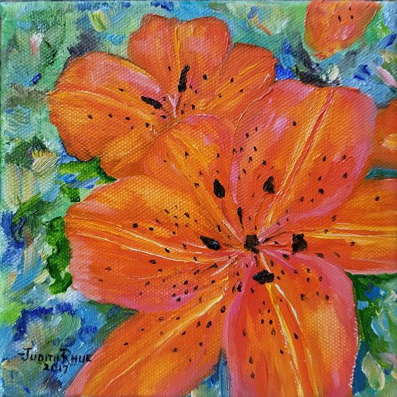 Tiger Lily Oil Painting Lilies Flower Flowers Orange Beauty Nature Garden Gardening Summer