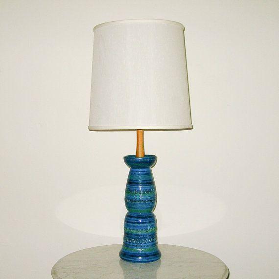 Mid Century Modern BITOSSI Style ITALIAN CERAMIC Green Lamp